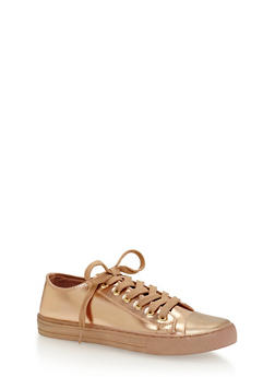 Lace Up Metallic Canvas Sneakers - ROSE GOLD - 1114029916277