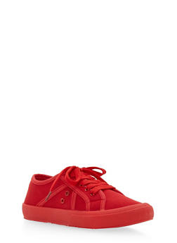Lace Up Plimsoll Sneakers - 1114053737632
