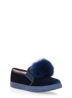 Velvet Slip On Sneakers with Faux Fur Pom Pom - 1114061716264