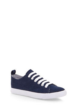 Low Top Sneakers with Striped Lining - BLUE DENIM - 1114062720187
