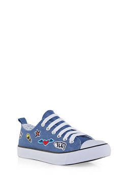 Low Top Canvas Sneakers with Patches - 1114062720194