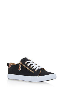 Woven Lace Up Sneakers with Side Zipper Accent - BLACK - 1114062720200