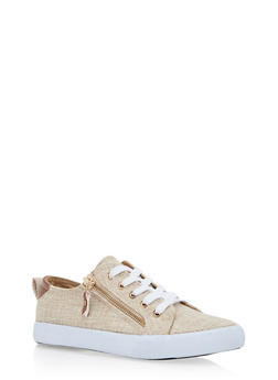 Woven Lace Up Sneakers with Side Zipper Accent - NATURAL CROCHET - 1114062720200