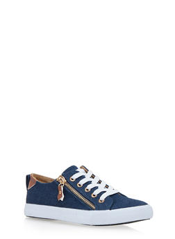 Woven Lace Up Sneakers with Side Zipper Accent - BLUE DENIM - 1114062720200