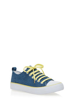 Classic Low Top Tennis Sneakers - BLUE DENIM/YELLOW/WHT - 1114062725498