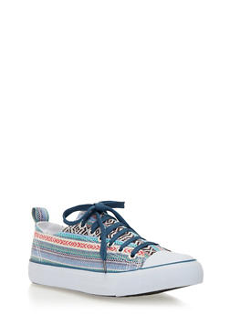 Classic Low Top Tennis Sneakers - BLUE AZTEC/WHT/BLUE - 1114062725498