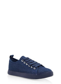 Lace Up Canvas Sneakers - BLUE DENIM - 1114062725501