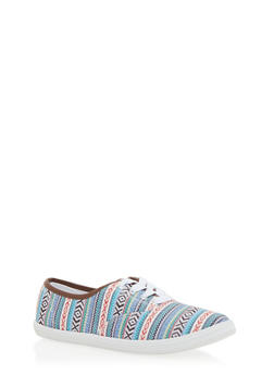 Lace Up Sneakers - ASTECK PRINT - 1114062728370
