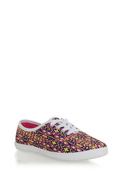 Lace Up Sneakers - MULTI PRINT - 1114062728370