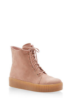 Faux Suede Lace Up Sneakers with Creeper Sole - DUSTY PINK - 1114070407342