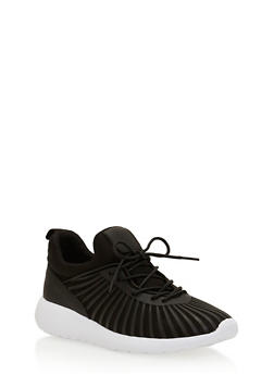 Lace Up Running Sneakers with Rubber Caging - 1114070407426