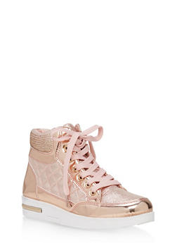 Rhinestone Embellished Lace Up High Top Sneakers - ROSE GOLD - 1114070487768