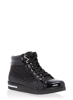 Quilted Faux Patent Leather High Top Sneakers - BLACK - 1114070487769