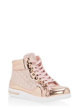 Quilted Faux Patent Leather High Top Sneakers - BRONZE - 1114070487769