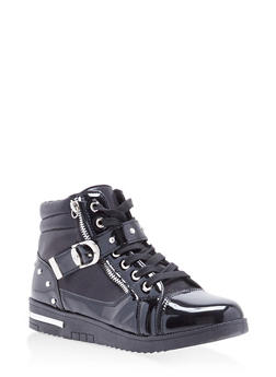 Studded Side Strap High Top Sneakers - BLACK - 1114070487770