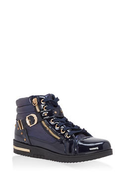 Studded Side Strap High Top Sneakers - NAVY - 1114070487770