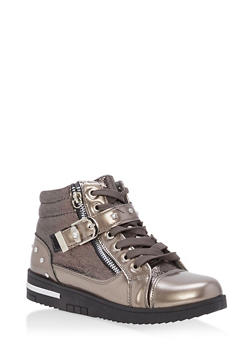 Studded Side Strap High Top Sneakers - PEWTER - 1114070487770