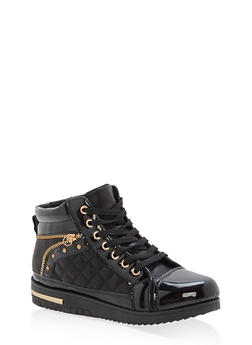 Shimmer Lace Up High Top Sneakers - BLACK - 1114070487771