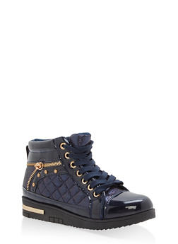 Shimmer Lace Up High Top Sneakers - NAVY - 1114070487771