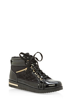 Side Zip High Top Sneakers - BLACK - 1114070487772