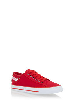Denim Low Top Lace Up Sneakers - RED - 1114073541738