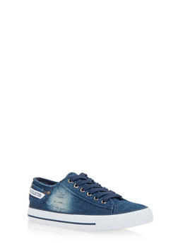 Denim Low Top Lace Up Sneakers - 1114073541738