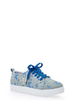 Denim Slip On Sneakers with Sequin Star - BUTTERFLY PRINT DENIM - 1114073541739