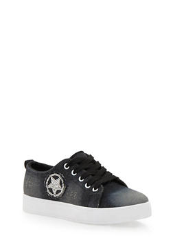 Denim Slip On Sneakers with Sequin Star - 1114073541739