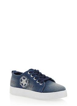 Denim Slip On Sneakers with Sequin Star - 1114073541739