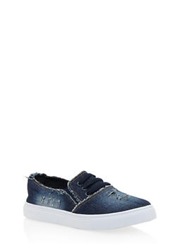 Frayed Denim Slip On Tennis Shoes with Rubber Sole - DENIM - 1114073541740