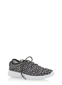 Wide Sole Pixelated Knit Sneakers - 1114073545374