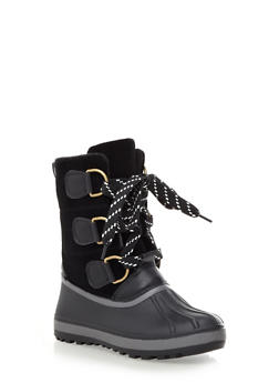 Fleece Lined Lace Up Rubber Boots with Felt Shaft,BLACK,medium