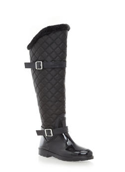 Quilted Rain Boots with Faux Fur Trim,BLACK,medium