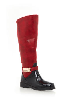 Faux Fur Lined Rubber Rain Boots,RED,medium