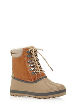 Weatherproof Lace Up Snow Boots with Sherpa Lining - 1115014062542