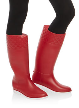 Tall Rain Boots with Quilted Detail - 1115014064877