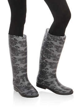 Tall Rain Boots with Quilted Detail - BLACK LACE - 1115014064877