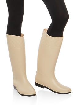 Tall Rain Boots with Quilted Detail - NUDE JELLY - 1115014064877