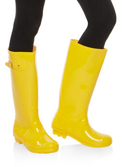 Weatherproof Buckle Detail Rain Boots - YELLOW JELLY - 1115014067234