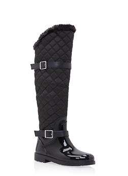 Knee High Boots with Quilted Paneling - BLACK - 1115014067867