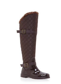 Knee High Boots with Quilted Paneling - BROWN - 1115014067867