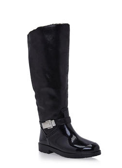 Weatherproof Leopard Print Boots with Patent Faux Leather - BLACK - 1115014067869