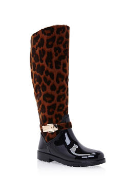 Weatherproof Leopard Print Boots with Patent Faux Leather - 1115014067869