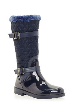 Weatherproof Boots with Quilted Paneling - 1115014067870