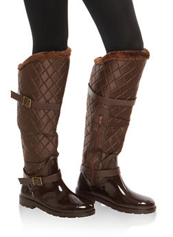 Faux Fur Lined Quilted Rain Boots - BROWN NYLON - 1115014067871