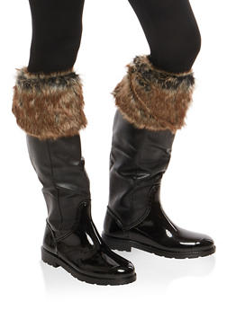 Weatherproof Faux Fur Cuffed Rain Boots - 1115014067873