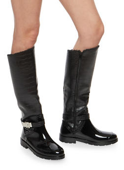 Faux Fur Lined Buckle Rain Boots - 1115014067874