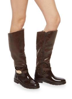 Faux Fur Lined Buckle Rain Boots - BROWN FFS - 1115014067874