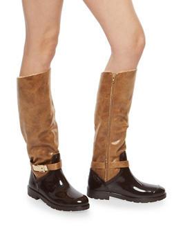 Faux Fur Lined Buckle Rain Boots - CHESTNUT FFS - 1115014067874