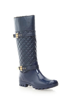 Quilted Tall Rain Boots,NAVY,medium